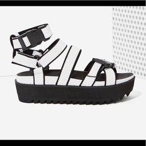 INTENTIONALLY BLANK. leather Platform Sandals